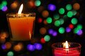 Bokeh beautiful light and fragrance candle in the darkness Stock Photo