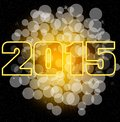 Bokeh card happy new year with yellow background Royalty Free Stock Photos