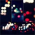 Bokeh and flare of blured background night scene set of images. Night blurred lights collage Royalty Free Stock Photo