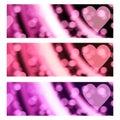 Bokeh Hearts Romantic Valentine Banners Headers