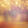 Bokeh lights background with mixed brown and yellow warm earthly colors Stock Photo