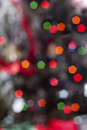 Bokeh xmas lights christmas tree photographed in style Stock Photos