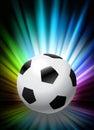 Bola de futebol no fundo abstrato do espectro Fotografia de Stock Royalty Free