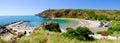 Bolata beach Bulgaria. Famous bay near Cape Kaliakra. Panoramic Royalty Free Stock Photo