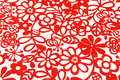 Bold flowers and abstract in red on a white background Stock Photo