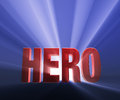 Bold hero shiny red on dark blue background brilliantly backlit with light rays shining through Royalty Free Stock Photo