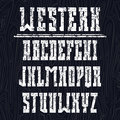 Bold serif font in the western style with shabby texture light on a dark background Royalty Free Stock Photos