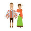 Bolivia national dress illustration of costume on white background Stock Photography