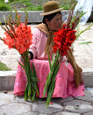 Bolivian flower seller in la paz Royalty Free Stock Images