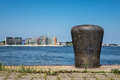 Bollard in the port city rostock germany Stock Image