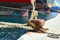 Bollard and ropes Royalty Free Stock Photo
