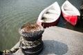 The bollard tied in the harbor shanghai china Stock Image