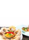 Bolo e sugar donut do fruto Imagem de Stock Royalty Free