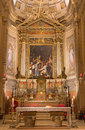 Bologna chiesa di san gregorio e san siro church italy march main altar of with the miracolo del corporale eucharist miracle Royalty Free Stock Image