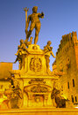 Bologna fontana di nettuno or neptune fountain on piazza maggiore square in dusk Royalty Free Stock Photography