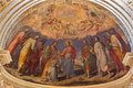 Bologna fresco in main apse of dom saint peters baroque church christ give the symbolic key italy march by cesare fiorini e cesare Royalty Free Stock Photos