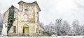 Bologna italy december villa sampieri talon in the parco della chiusa of casalecchio di reno during snowfall Royalty Free Stock Images