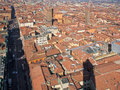 Bologna outlook from torre asinelli to saint peters church in morning Stock Photo