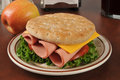 Bologna sandwich a baloney with potato chips and an apple Royalty Free Stock Image