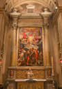 Bologna side altar of chiesa di san gregorio e san siro with the baptism of christ scene by annibale carracci italy march Stock Photos