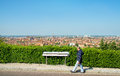 Bologna tour aerial view sightsee emilia romagna panorama sign italy may a man walking while watching the of the city Stock Photos