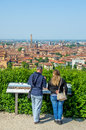 Bologna tourists aerial view sightsee emilia romagna italy couple looking the city of from above Stock Images