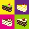 Bolos deliciosos no fundo telhado colorido estilo do pop art Imagens de Stock Royalty Free