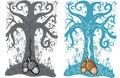 A bolota e a árvore de vida tattoo a ilustração do estilo Imagens de Stock