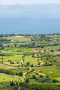Bolsena lake from montefiascone panoramic view over the of viterbo lazio italy at summer Royalty Free Stock Images
