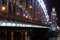 Bolsheohtinskij bridge peter the great at night st petersburg russia Stock Photos