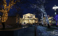 Bolshoi theatre in moscow russia large great or grand also spelled bolshoy at night lighted during christmas Stock Images