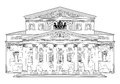 Bolshoi theatre moscow russia travel europe landmark famous building isolated on white background hand drawing illustration of Stock Photography