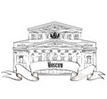 Bolshoy theatre landmark moscow symbol isolated on white background city label travel icon vector hand drawing collection Stock Photo