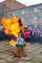 Bolsoi kamen russia march celebration holiday maslenitsa bolsoi kamen russia march programm burning effigy winter Royalty Free Stock Image