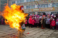 Bolsoi kamen russia march celebration holiday maslenitsa bolsoi kamen russia march programm burning effigy winter Royalty Free Stock Photo