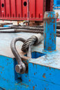 Bolt anchor shackle and wire rope sling close up heavy duty on crane counter weight Royalty Free Stock Images