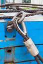 Bolt close up heavy duty anchor shackle and wire rope sling on crane counter weight Stock Images