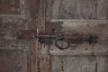 Bolt on the wooden door Stock Photo