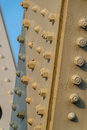 Bolted supports on a steel frame bridge construction building industry strength Royalty Free Stock Photos