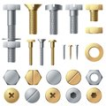 Bolts and screws. Washer nut hardware rivet and bolt. Chrome fasteners isolated vector set