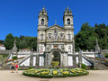 Bom jesus do monte in braga portugal facade of a portuguese sanctuary tenoes near the city of Royalty Free Stock Photography