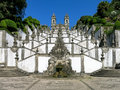 Bom jesus do monte in braga portugal stairway and church of a portuguese sanctuary tenoes near the city of Royalty Free Stock Image