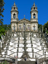Bom jesus do monte in braga portugal stairway and church of a portuguese sanctuary tenoes near the city of Royalty Free Stock Images