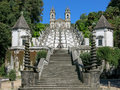 Bom jesus do monte in braga portugal stairway and church of a portuguese sanctuary tenoes near the city of Stock Image