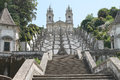 Bom jesus do monte sanctuary braga portugal a magnificent baroque stairway leads to the neoclassic church construction dates to Royalty Free Stock Image