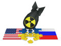Bomb black with radiation sign and puzzles with the flags of russia ukraine and the usa Royalty Free Stock Photos