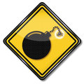Bomb and bomb fuse hazard symbol Royalty Free Stock Images