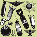 Bomb collection a clip art of various icons and art Stock Images