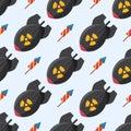 Bomb dynamite fuse vector illustration grenade seamless pattern attack power ball burning detonation explosion