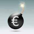 Bomb with euro and burning wick vector Royalty Free Stock Image
